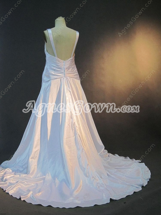 Simple Deep V-Neckline White Satin Plus Size Wedding Dresses