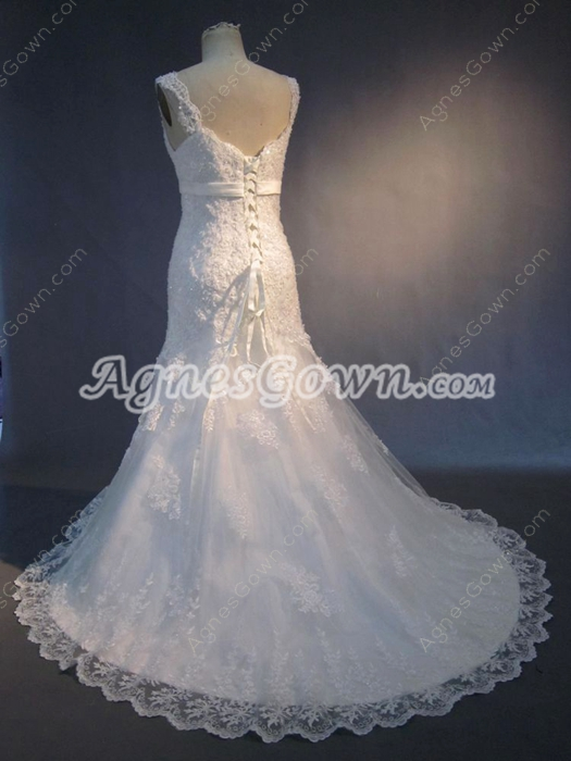 Beautiful Straps A-line Full Length Vintage Lace Wedding Dresses