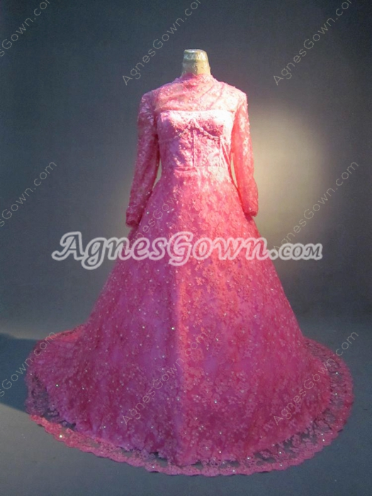 Modest Long Sleeves Lace Plus Size Mature Wedding Dresses