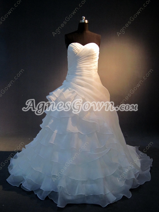 Dramatic Organza Sweetheart Affordable Bridal Gowns
