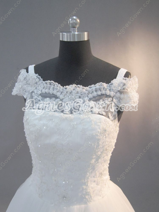 Pretty Off Shoulder Lace Short Sleeves Princess Wedding Dresses