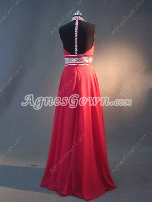Unique Red Chiffon Long Evening Dresses With T Back