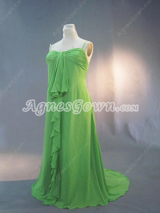 Cheap Green Chiffon Spaghetti Straps Plus Size Wedding Guest Dress