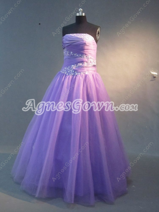 Cheap Lavender Puffy Quinceaneara Dresses With Pleated Bodice