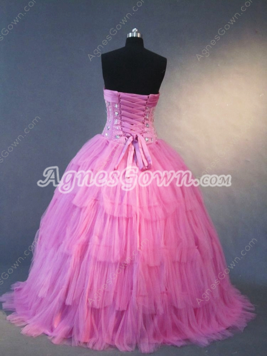 Pretty Fuchsia Tulle Sweetheart Quinceanera Dress