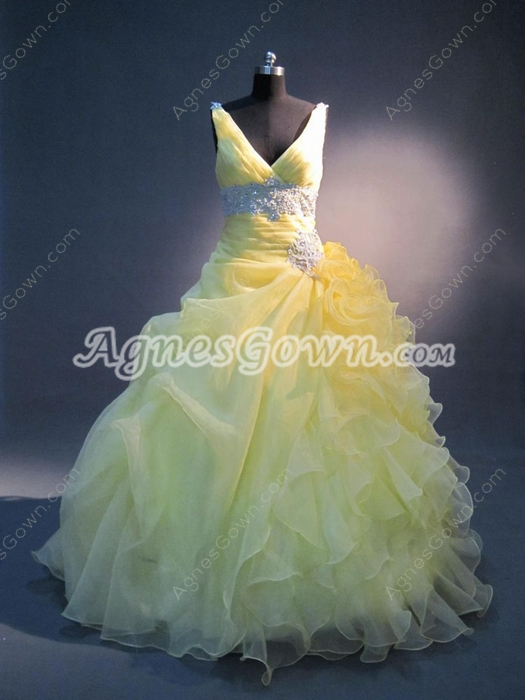 Best Yellow Ruffles V-neckline 15 Quinceanera Dresses