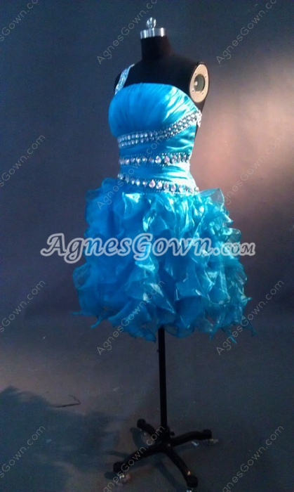 Sexy Turquoise One Shoulder Puffy Cocktail Dress