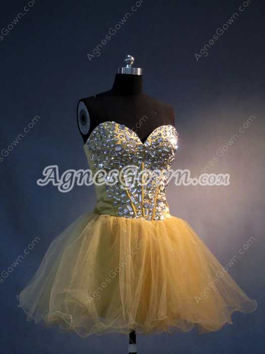 Cute Sweetheart Puffy Gold Cocktail Party Dresses