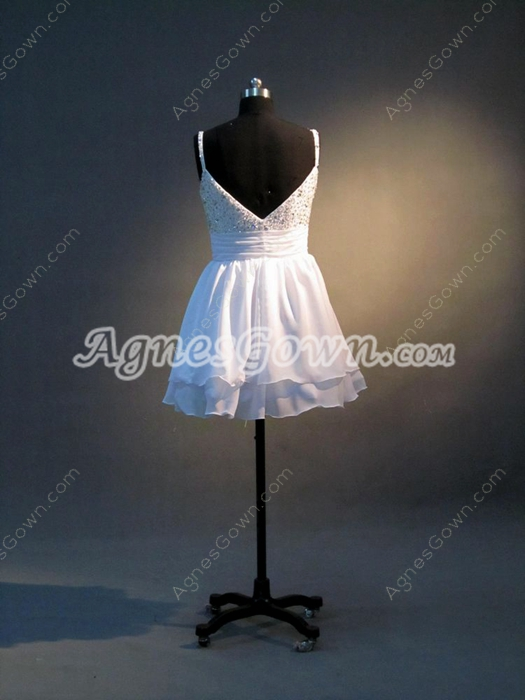 Spaghetti Straps White Chiffon A-line Mini Length Quinceanera Dress For Damas