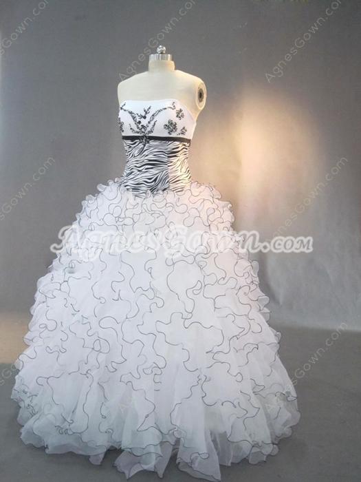 Unique Black and White Zebra Print Quinceanera Dresses