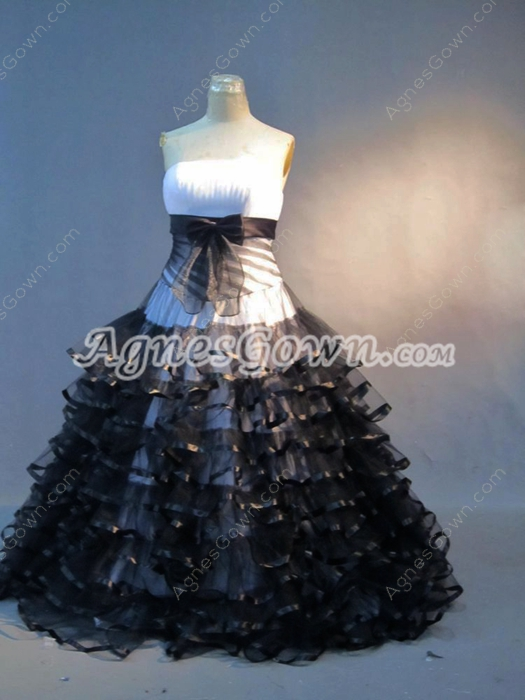 Best Black And White Organza Mitzy Quinceanera Dresses