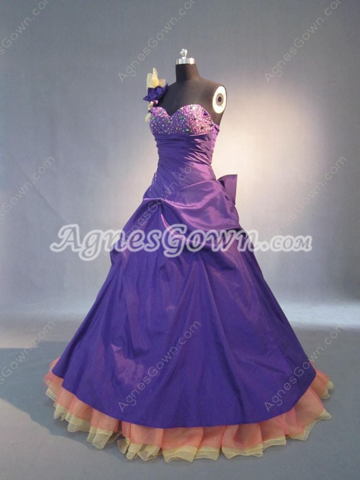 Sweet Colorful Petite One Shoulder Quinceanera Dresses