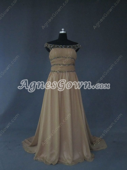Charming Brown Off Shoulder Chiffon Prom Dresses for Mother of Bride
