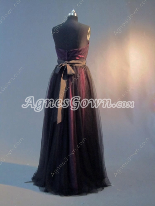 Elegant Black and Fuchsia Graduation Ball Gown Dresses With Sash