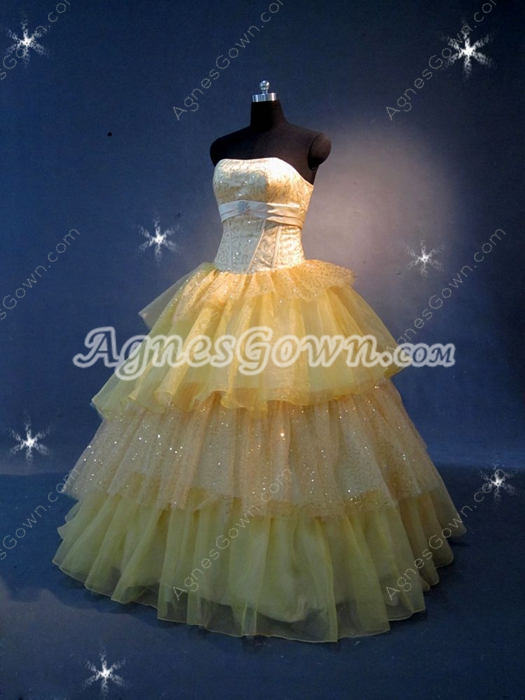 Modern Strapless Yellow Layers Quinceanera Dresses