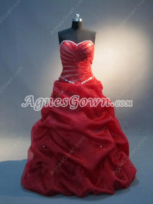 Best Dark Red Strapless Sweetheart Sweet 16 Gowns for Plus Size