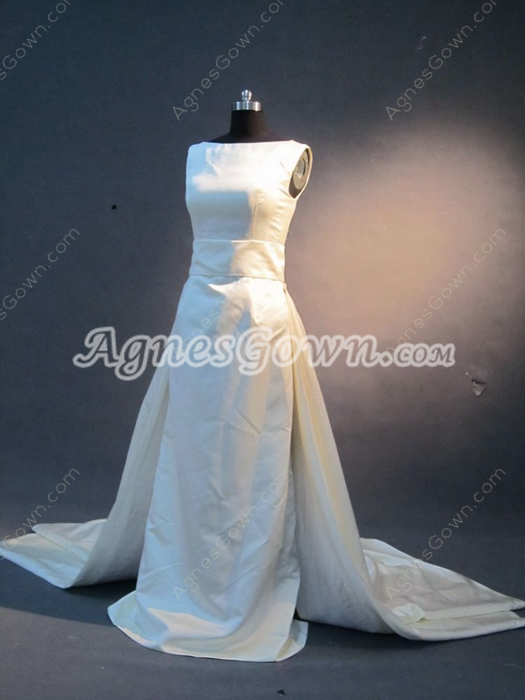 Simple Bateau Satin Ivory Wedding Dresses for Country Wedding
