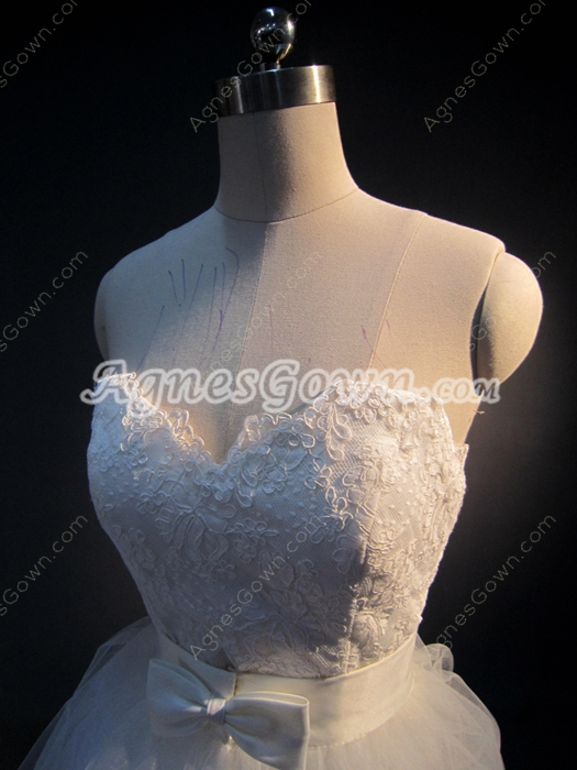 Special Mini Lace Wedding Dress with Detachable Skirt