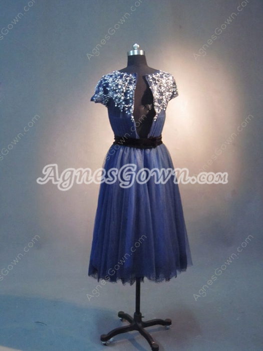 Vintage 1950s Dark Navy Tulle Wedding Guest Dresses With Short Sleeves