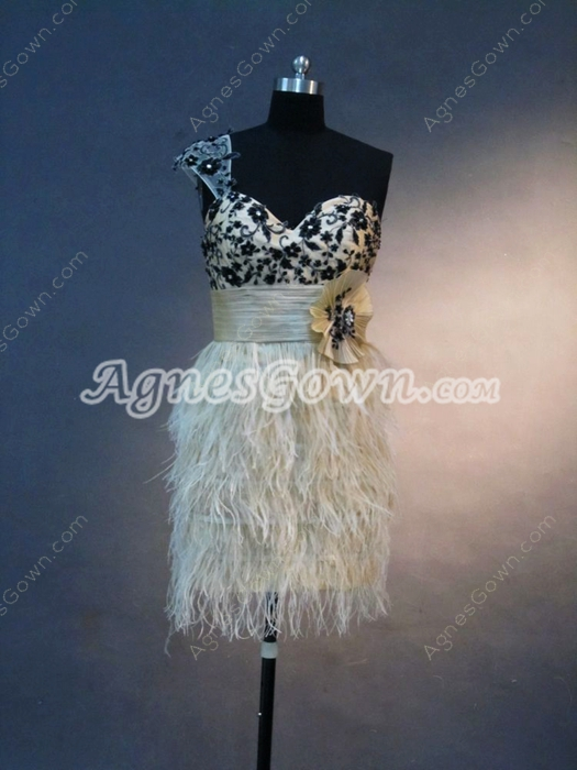 Modern One Shoulder Champagne Feather Wedding Guest Dresses