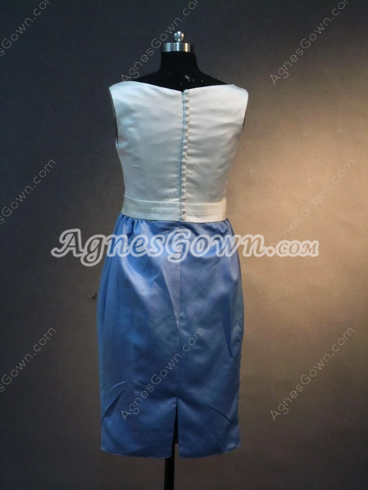 Simple Bateau Sheath White and Blue Wedding Guest Dresses