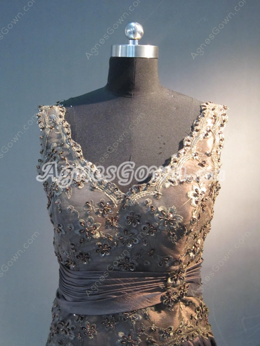 Simple Lace V-Neckline Chocolate Wedding Guest Dresses