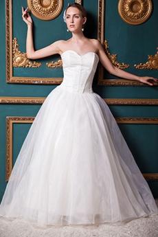 Simple Ivory Organza Wedding Dress