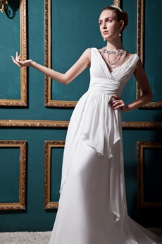 Greek V-Neckline Ivory Chiffon Beach Wedding Dress