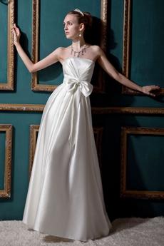 Affordable A-line White Satin Beach Wedding Dress