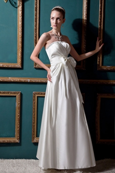 Affordable A-line White Satin Beach Wedding Dress