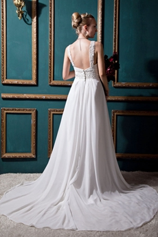Exquisite Straps A-line White Chiffon Beach Wedding Dress With Appliques