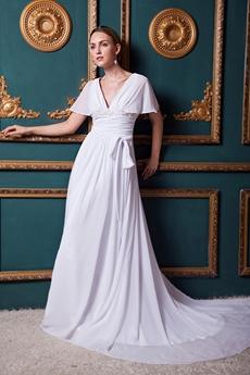 V-Neckline Short Sleeves Casual Beach Wedding Dress