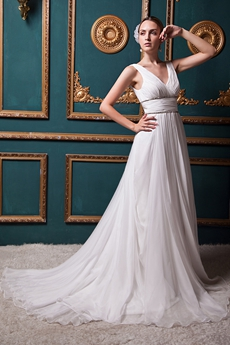 Grecian V-Neckline Chiffon Wedding Dress For Summer