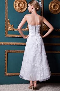 Bohemian Tea Length Lace Wedding Dress