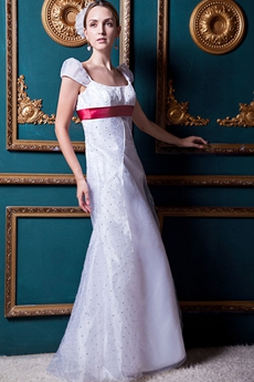 Straps White Boho Wedding Dress With Red Sash