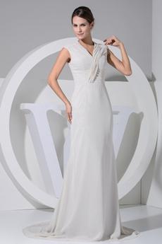 Romantic V-Neckline Cream Chiffon Beach Wedding Dress