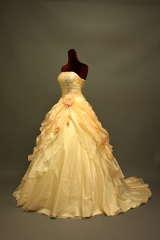 Romantic Champagne Strapless Ball Gown Wedding Dress