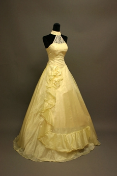 Modest Yellow Halter High Collar Quinceanera Ball Gown Dress