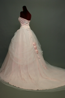 Pretty Pearl Pink Strapless Court Quinceanera Dress With Floral