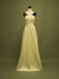 Unique Detachable Neckline And Train Wedding Dresses With Bowknot
