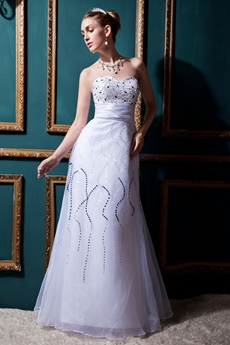 A-Line Organza Beach Wedding Dress With Heavy Beads