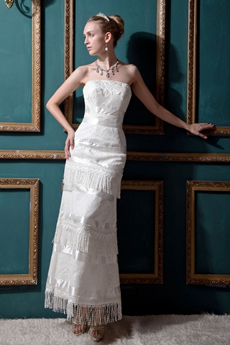 Column Ankle Length Western Cowboy Lace Wedding Dress