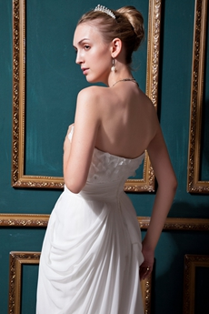 Grecian V-Neckline White Chiffon Casual Beach Wedding Dress