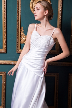 Spaghetti Straps A-line Satin Wedding Dress With Lace Appliques
