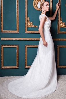 Illusion Neckline A-line Wedding Dress