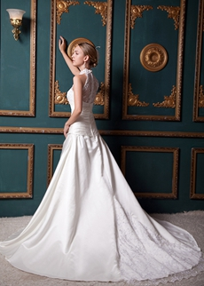 Illusion Back High Collar Ivory Wedding Dress