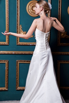 Exquisite A-line Ivory Satin Wedding Dress Asymmetrical Waist