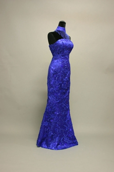 Fancy Royal Blue High Collar Column Lace Mother of Bride Dresses With Beads