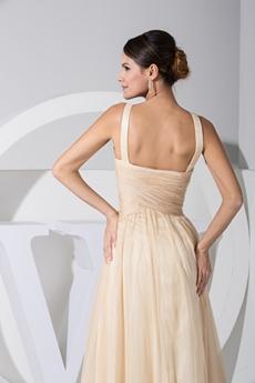 Stunning Champagne Chiffon Celebrity Evening Dress With Beads