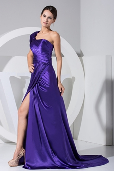 Fashionable One Straps Violet Satin Evening Dress